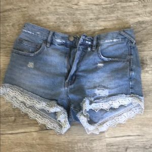 Free people jean shorts with lace!